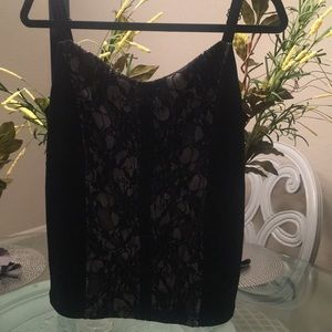 Black with lace insert camisole top